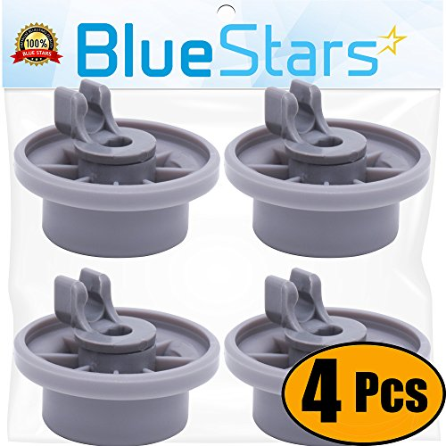 Ultra Durable 165314 Dishwasher Lower Rack Wheel replacement by Blue Stars - Exact Fit for Bosch & Kenmore Dishwasher - Replaces 00420198 420198 - PACK OF 4 ()