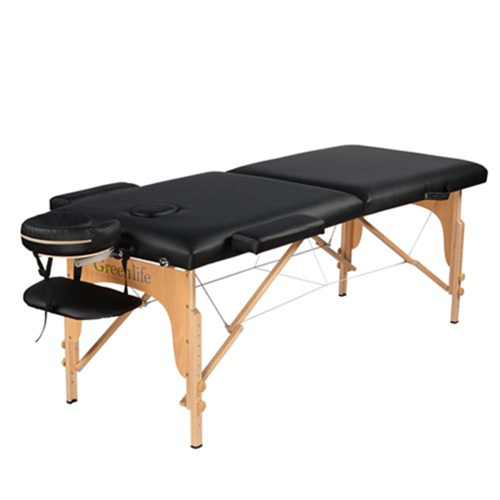 Super Stable Portable 2 Fold Massage Reiki Facial Table Bed Free Carrying Bag & Armrests (Black, All Included) GreenLife