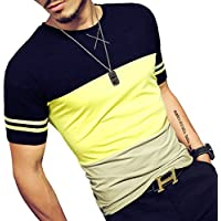 LOGEEYAR Mens Cotton Fitted Short-Sleeve Contrast Color Stitching T-Shirt…