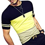 LOGEEYAR Mens Cotton Fitted Short-Sleeve Contrast Color Stitching T-Shirt (YELLOW L)