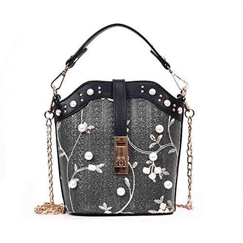 (Handmade Straw Bags Flower Embroidered Pearl Pendant Twill Quilted Handle Handbag Woven Chain Shoulder Bag Small Crossbody Messenger Bags Purse)
