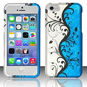 For iPhone 5c - Rubberized Design Cover - Blue Vines
