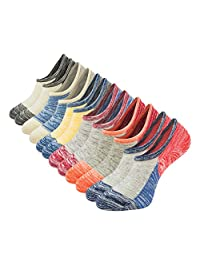 Empino Mens No Show Socks Non Slip Funky Cotton Low Cut Ankle Casual Socks Liners