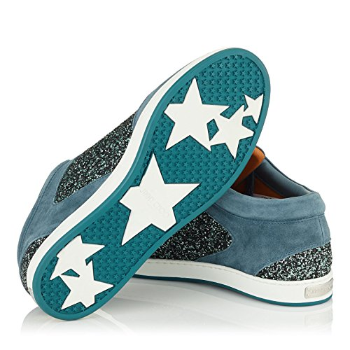 Blue Leather and Miami Glitter Jimmy Dusk Sneakers Star Choo qwEUn1C8