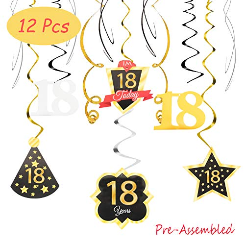 18 Birthday Decoration Happy 18th Birthday Party Silver Black Gold Foil Swirl Streamers I