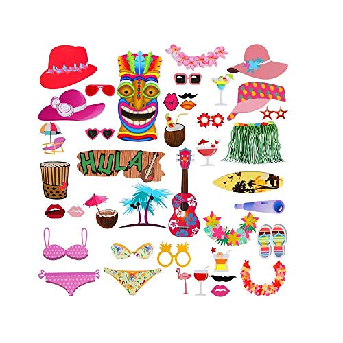 Auch Photo Booth Props Kit - 42pcs Photobooth Prop Funny Selfie Accessories Decoration Supplies Costume Mustache Hat Glasses Tie for Birthdays Wedding Holiday Party Christmas -