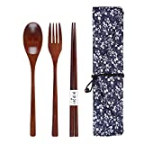 Best Spoon With Storage Pouches - Yilan Trade 3-Pieces Wooden Flatware Set with Beautiful Review
