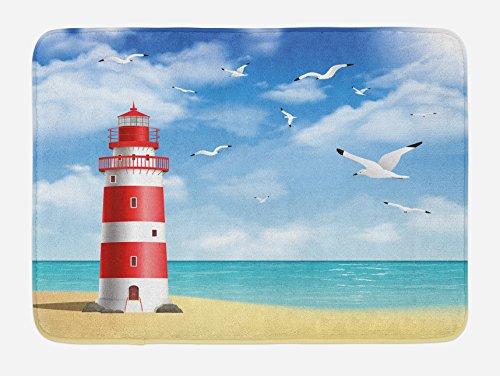 Bath Lighthouses (Ambesonne Beach Bath Mat, Realistic Illustration Lighthouse on Calm Seashore Flying Seagulls Ocean Scenery, Plush Bathroom Decor Mat with Non Slip Backing, 29.5 W X 17.5 W Inches, Vermilion Blue)