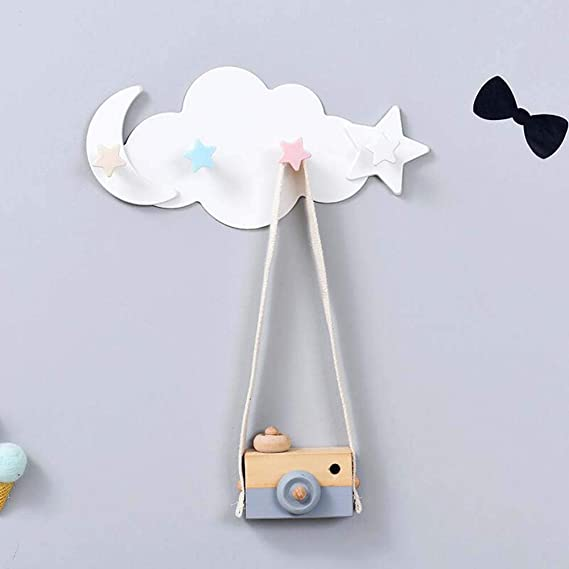 Faldas Pantalones Cortos Toalla Blanco YUENA CARE Nubes Ganchos para Colgar en Pared Gancho de Dibujos Animados Perchero para Gancho de Madera Creativo Ba/ño para Sombrero