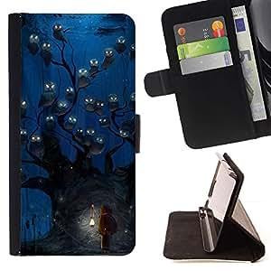 Momo Phone Case / Flip Funda de Cuero Case Cover - Búho azul acuarela de la noche - Huawei Ascend P8 Lite (Not for Normal P8)