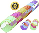 Hide N Side 12 ft Tunnel/6 ft Tunnel 2 Pack, Peek-a-Boo Kids Play Tunnel, Indoor & Outdoor Pop Up Children Crawl Tunnel Toy Tube, Dog Agility Tunnel, Cat Tunnel