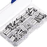 Hestya 200 Pieces Non-Insulated Butt Connectors 22-18AWG 16-14AWG 12-10AWG Non-Insulated Wire Ferrule Cable Crimp Terminal Kit for Electrical Splice DIY