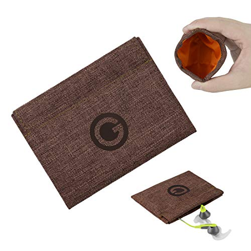 Geekria Snap Pouch for Earbuds/Headphone Organizer Bag/Universal Headphone Protective Pouch/Pocket Earphone Case/Coin Purse Change Holder/Portable Travel Bag (Brown)