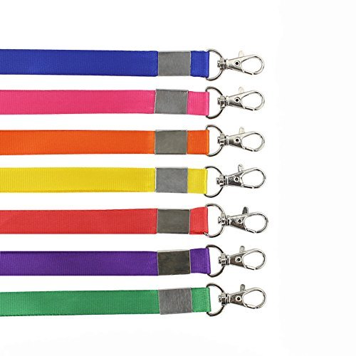 (10PCS 1.5CM Wide Colorful Blank Flat Woven Neck Lanyards- ID Card/Employee's Card/VIP Card To Hanging Rope With Hasp for Office ID Name Tags and Badge Holders Color By Random)