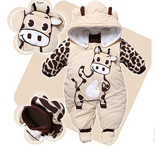 3411b7657 Newborn Baby Boy Girl Winter Jumpsuit Hooded Rompers Quilted Suit ...
