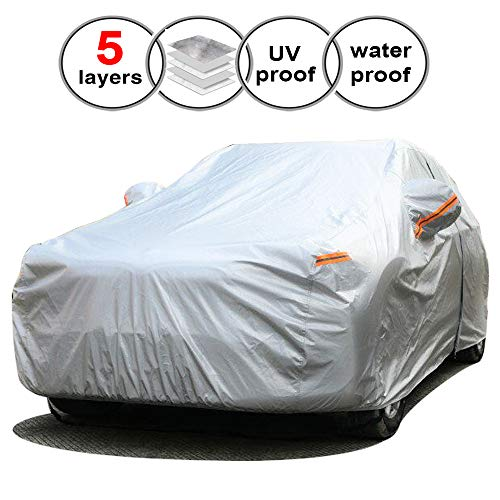 SEAZEN Car Cover Waterproof All Weather,Full car Covers UV Protection/Snowproof/Dustproof,Universal car Cover 5 Layer Breathable Fabric with Cotton(201