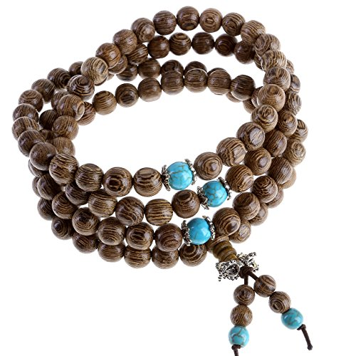 Bracelet Wood Bangle - JOVIVI Tibetan 108 8mm Natural Wenge Wood Prayer Beads Buddha Mala Buddhist Bracelet Necklace