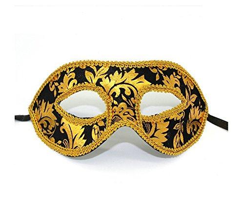 Mardi Gras Party Masquerade Mask,Christmas mask Jazz mask Velvet Cloth mask Flat Head Men lace mask Holiday Items Black Prom Masks]()