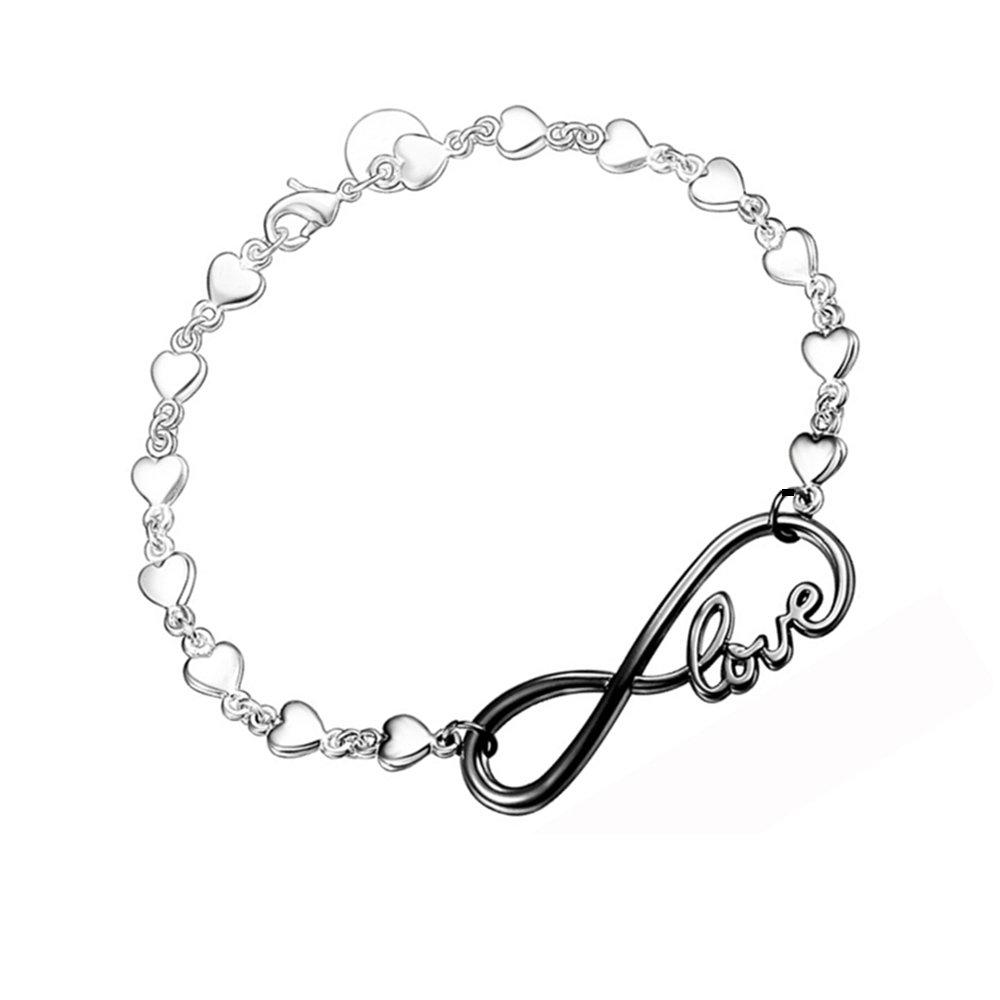 Infinity Love Heart, braccialetto o cavigliera con ciondolo in argento sterling 925, di colore nero, regalo nuziale o per la festa della mamma Missrui SB9011