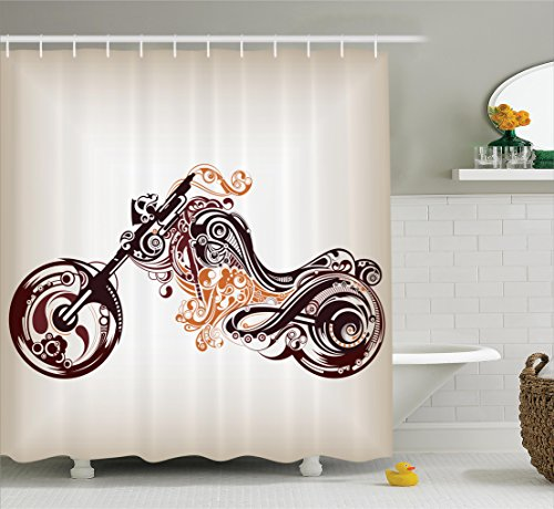 Manly Decor Shower CurtaIn Set By Ambesonne  Motorbike Shape With  Decorative Curvy Lines Floral Ornamental Design Art Print  Bathroom  Accessories. Manly Decor  Amazon com