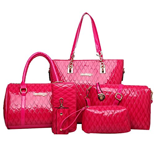Pink 6 Bag handle Bag Bright Pieces Handbag Top Women Set Skin Tote qxgw1P1Z