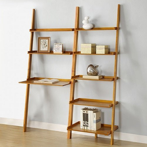 Home Oak 2-piece Leaning Ladder Shelf