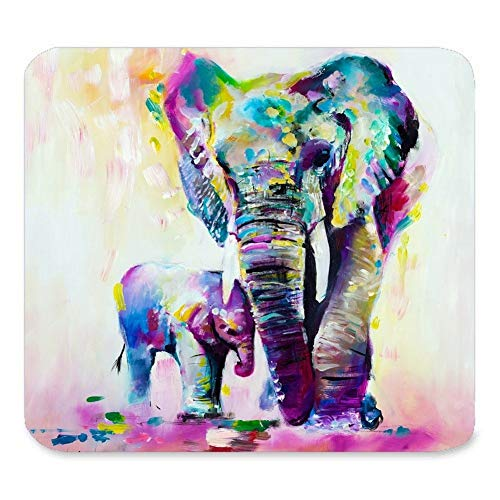 Custom Rectangle Mouse Pad Extended,Abstract Vintage Watercolor African Elephant Art Paintings,Gaming Non-Slip Rubber Large Mousepad Mat -