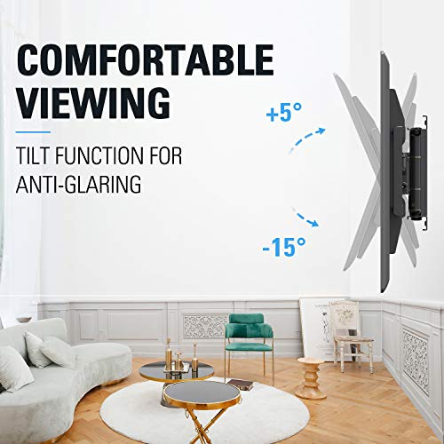 """Full Motion TV Wall Mount Bracket for Big TVs Up to 75"""", UL listed Wall Mount TV Bracket, Fits 16, 18, 24 inch Studs with Articulating Arm, VESA 600x400mm, 132 lbs MD2298 by Mounting Dream"""