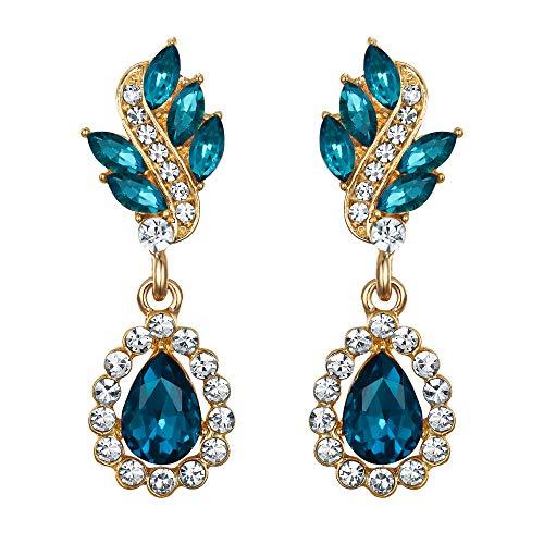 EleQueen Women's Austrian Crystal Art Deco Tear Drop Dangle Earrings Pierced Gold-tone Turquoise Color