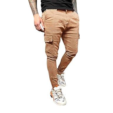 Logobeing Hombre Pantalones Trajes de Cremallera Pantalones de ...