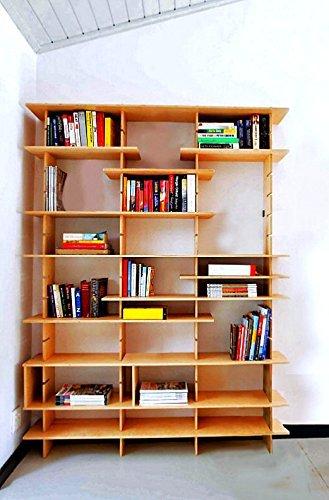 Libreria in legno grezzo ad incastro con mensole regolabili ...