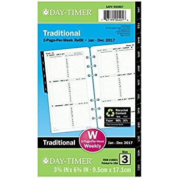 """Day-Timer Weekly Planner Refill 2017, Two Page Per Week, Loose Leaf, 3-3/4 x 6-3/4"""", Portable Size (10831)"""