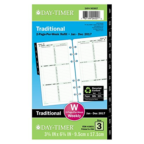 Week Weekly Refill (Day-Timer Weekly Planner Refill 2017, Two Page Per Week, Loose Leaf, 3-3/4 x 6-3/4