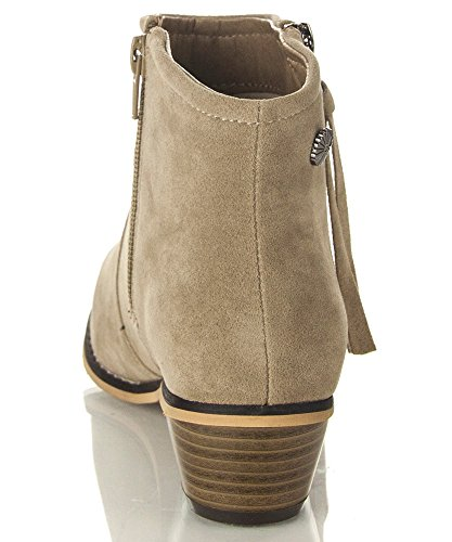 ROF Petty 02 Womens Fashion Western Inspired Almond Pointy Toe Vegan Stacked Heel Ankle Booties Ankle Bootie