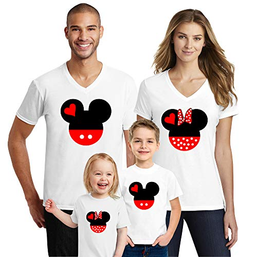 Natural Underwear Family Trip #2 Head and Ears 2019 T-Shirts Trip Mouse Youth Girls V Neck T Shirts White Youth-Girls -