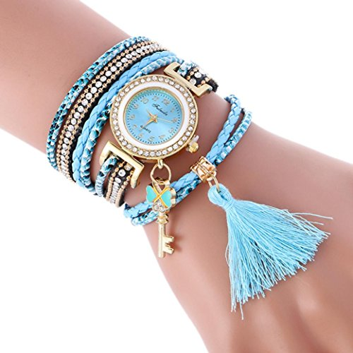 Hunputa Fashion Leather Tassel Band Bracelet Lady Womens Wrist Watch Gift (Light Blue)