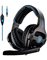 SADES SA810 Neue Updated Xbox one Mikrofon PS4 Headset Over Ear Stereo Gaming Headset Bass Kopfhörer Gaming mit Noise Isolation Mikrofon für neue Xbox one PC PS4 Laptop Telefon (Neue weiße Version)