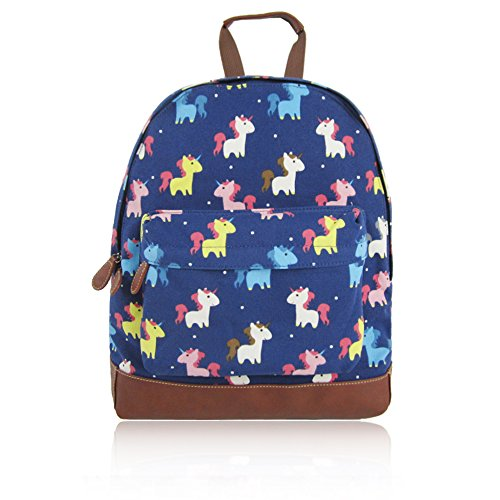 Print Childrens Kids Bag UNICORN Blue Designer New School' Backpack Collection Canvas KIDS Style to London JC 'Back Craze fvtq88