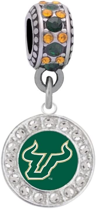Final Touch Gifts University of South Florida Crystal Logo Charm Fits European Style Large Hole Bead Bracelets