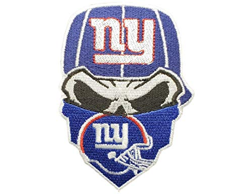 (New York Giants Iron On Skull with Bandana Patch 3.55 x 2.5)