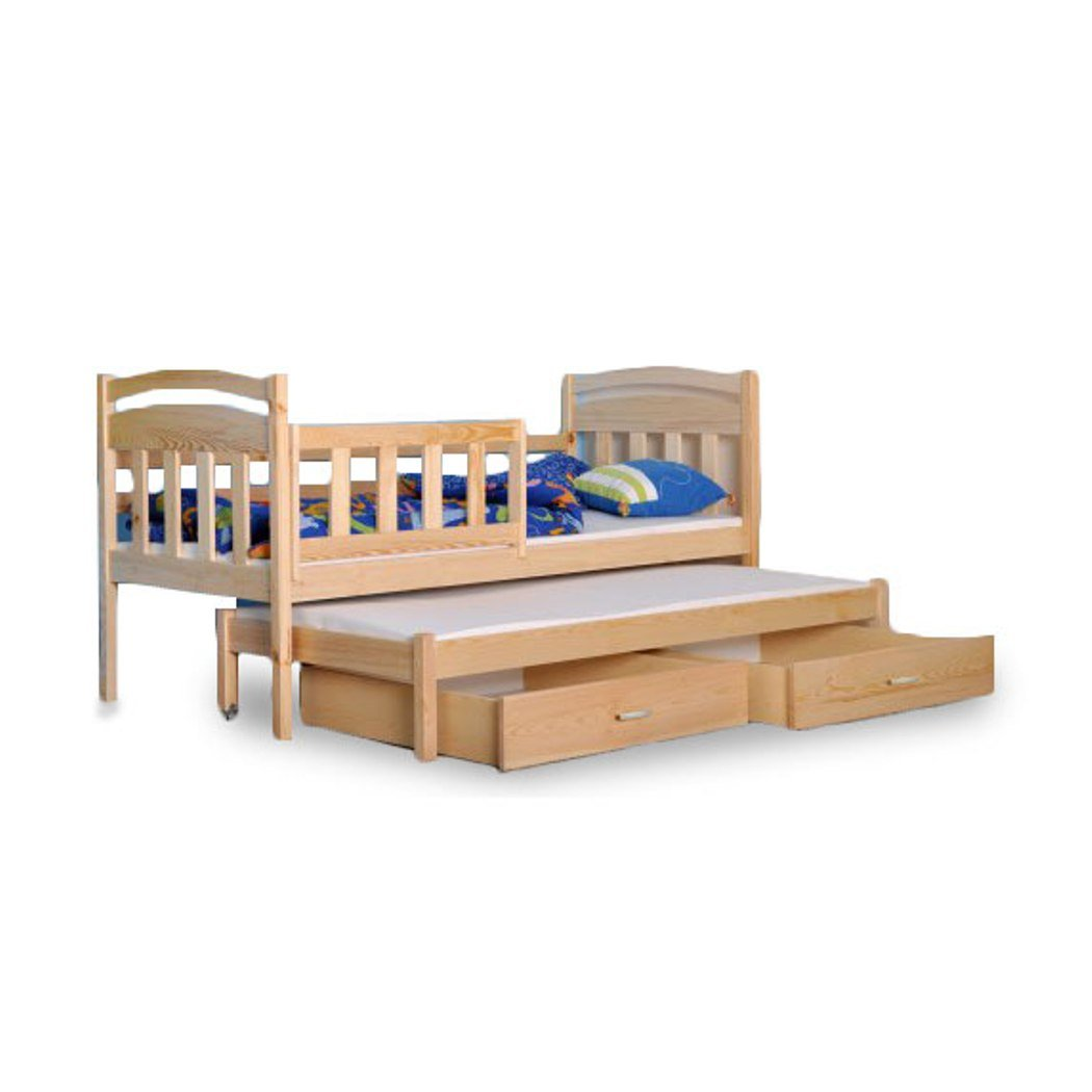 Kinder Bett Einzelbett 2 in 1 Kinderbett Bettkasten 2 Personen JUNIOR Kiefer neu