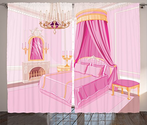 Ambesonne Girls Curtains Teen Decor Curtains, Pink Interior