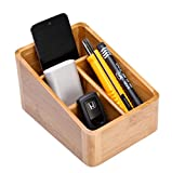 Kangsur Desk Organizer Multifunction Bamboo Wood with 4 Compartment