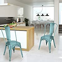 Adeco Metal Stackable Tolix Style Industrial Dining Chairs Glossy Set Of 2 Mineral Blue