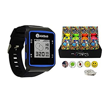 Image of Amba9 GPS Golf Watch Bundle with 1 Dozen Saintnine Golf Balls, 5 Ball Markers and 1 Magnetic Hat Clip - Rangefinder with Preloaded Courses, Step Tracking, Distance to Hole Measurements, and Par Info Golf Course GPS Units