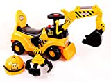 RICCO 2 in 1 Ride On Toy Digger Excavator Grabber Bulldozer with Helmet