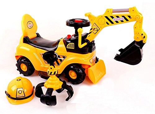 Ricco® Spielzeug-Bagger, 2in 1, zum Selberfahren, Bulldozer mit Helm 2 in 1 YY6133