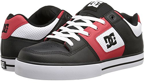 DC Pure Black Red White Leather Mens Skate Trainers Shoes Boots-7