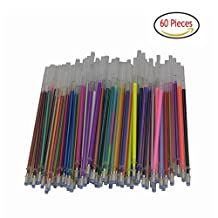 60 Gel Pen Refills-Glitter, Metallic, Classic, Pastel, Neon, Swirl, Glitter-Neon, Ideal for Adult Coloring Books, Scrapbooking, Crafts and Kids Projects
