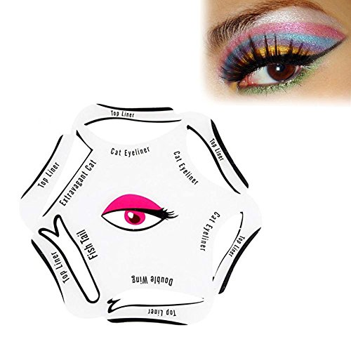 Eyeliner Stencil Kit Models Template for Winged Cat Eye & Smokey Eye for Makeup Beginner 6 in 1 by BOYON (1 pcs)